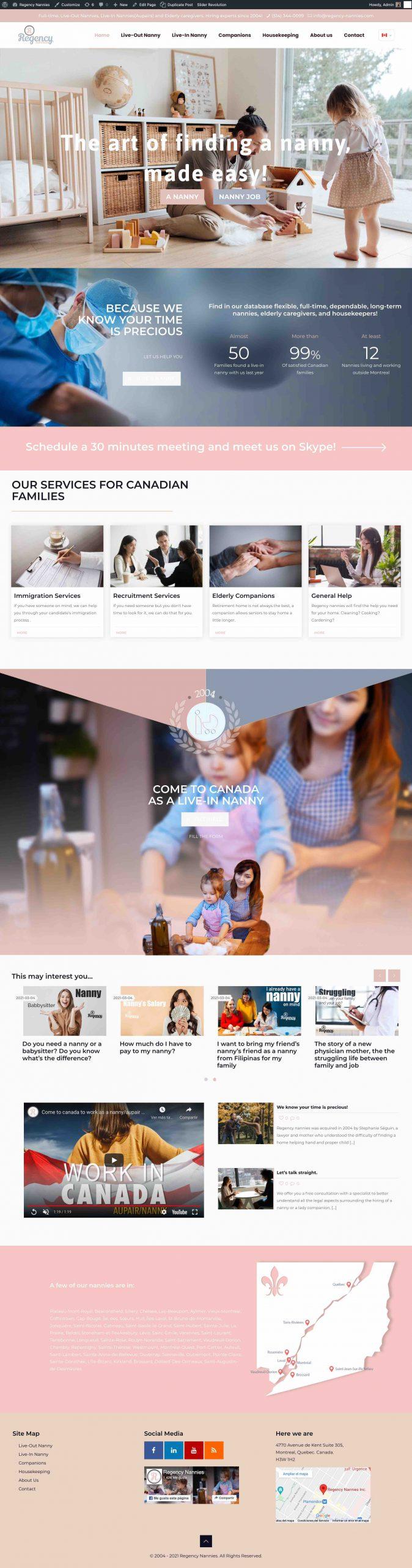 Regency Nannies Website